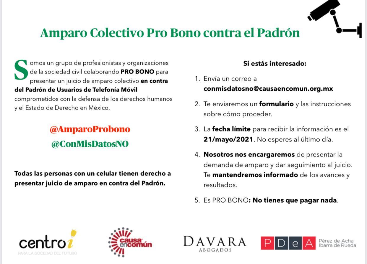 foro jurídico amparo colectivo pro bono contra panaut